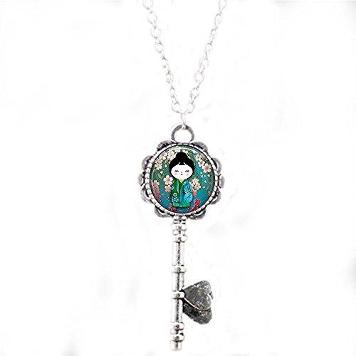 qws Pflaumenblüte Kokeshi Schlüssel-Halskette, Kokeshi Schlüssel-Halskette, japanischer Schmuck, Kokeshi Puppe Charm