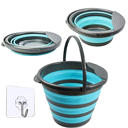 Falteimer 10L Faltbarer Eimer Silikon Runde Wassereimer Putzeimer Bucket Für Camping Wohnmobil Wohnwagen Küchen Angeln Boot Zubehör - Blau