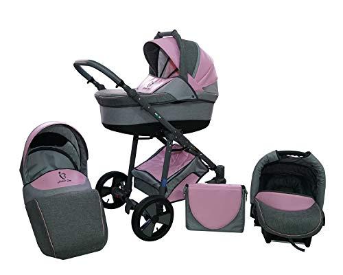 Skyline Kombi 3in1 Kinderwagen mit einem Aluminium Gestell, Babywanne, Sport Buggyaufsatz und Babyschale (ISOFIX) (Pink)