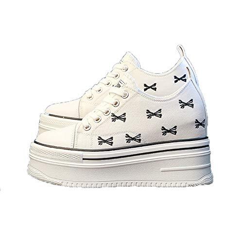 Zapatos de Plataforma para Mujer con Cordones Diarios Suela Gruesa Patrón de Bordado para Vestir Zapatos cómodos Creepers de Lona Caminata Diaria