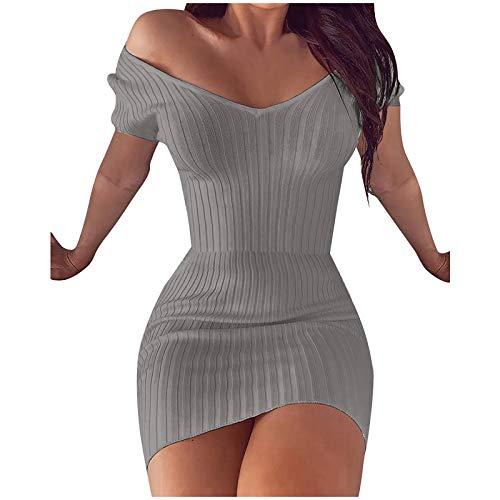 YANFANG Vestido Ajustado Mujer,Minivestido Delgado de Color sólido con Cuello en V y Temperamento Sexy Casual de Moda para Mujer, XXL,Gray