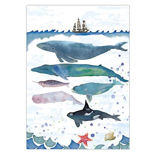 Garneck Tier Wandbilder Wal Wandmalerei Moderne Wandplakat für zu Hause Wohnzimmer (Bunt 42 * 30 Cm)