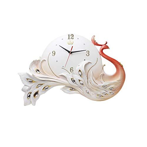 Pfau Wanduhr, Europäischen Stil 3D Dreidimensionale geprägte Art Deco Wanduhr, Umweltfreundliches Harz Dekorative Kunstuhr, Silent Ohne Tickgeräusche Quarz-Uhr,Red