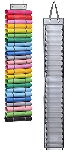 SAIVEN Portarrollos de vinilo con 2 ganchos, 24 rollos para colgar, rollo de vinilo ajustable, organizador de sala de manualidades,...