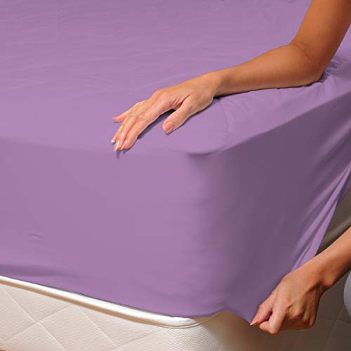SoulBedroom Purple (Púrpura) 100% Algodón Sábana Bajera Ajustable 150x200 cm