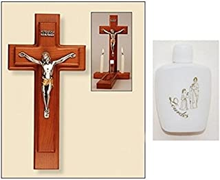 Sick Call Set - Wood Crucifix and Bottle of Lourdes Holy Water