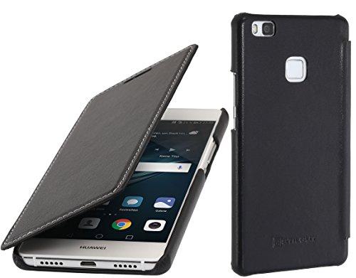 StilGut Book Type Hülle, Hülle Leder-Tasche für Huawei P9 lite. Seitlich klappbares Flip-Hülle aus Echtleder für das Original Huawei P9 lite, Schwarz Nappa