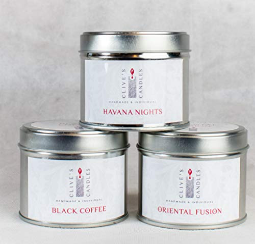 Clive's Candles, 3 Tin Candle Luxury Bundle, Mix and Match Candle Scents, 40 Hours Burn Time Per Candle