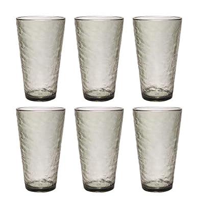 Premium Acrylic Drinking Glass, Set of 6, 23.5 oz, BPA-Free, Gray-Black