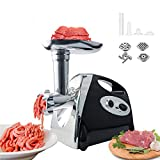 BenRich Electric Meat Grinder, 2800W Meat Mincer Sausage Maker Food Grinding Mincing Machine, with 3 Stainless Steel Plates, Copper Motor, Kibbe Attachment - Black