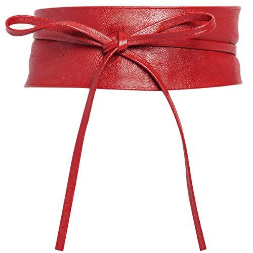 Charmoni - OBI - Ceinture large bande cuir synthétique à nouer autour de la taille - TU taille unique (rouge)