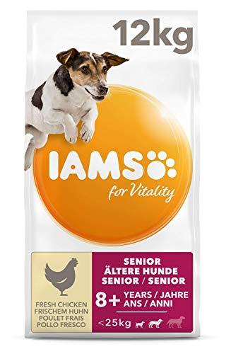 IAMS for Vitality Senior Hundefutter trocken für kleine & mittlere Rassen mit frischem Huhn, 12kg