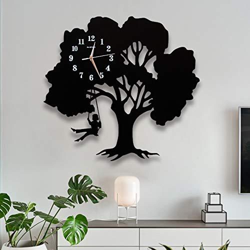 HM&DX Baum Wanduhr Pendel Schaukel, Holz Lautlos Ohne Tickgeräusche Wanduhr Funkuhr Arabische Ziffern Décoration De La Maison Quarzuhr Schlafzimmer-schwarz 48x45cm(19x18inch)