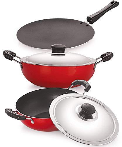 NIRLON Classic Range Non-Stick Cookware Silver Gift Set 3pcs - (Roti Tawa 28.5cm, Deep Kadai2.25L & 2.6L with Lid) Red/Black (Aluminium)