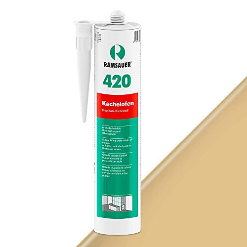 Ramsauer 420 Kachelofen - Profi Acryl Dichtstoff für Kachelofenfugen und Anschlussfugen - 310ml Kartusche (Sandbeige)