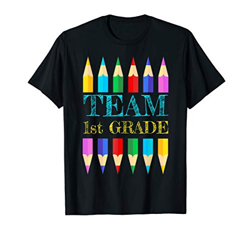 Team 1st Grade Back to School Shirt First Day Teacher Crayon T-Shirt