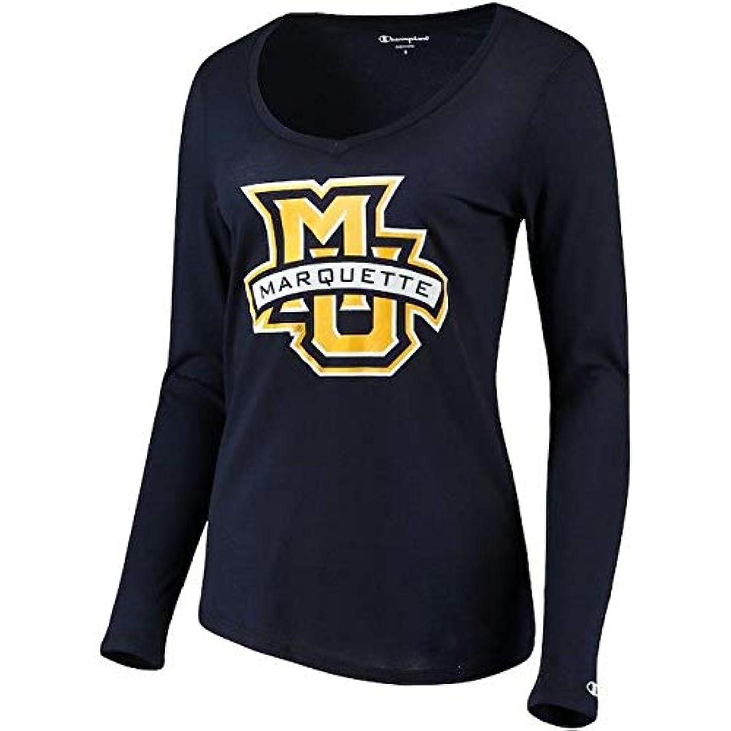 例外サーバ男らしいChampion Champion Marquette Golden Eagles Women's Navy Primary Logo Long Sleeve V-Neck T-Shirt スポーツ用品 【並行輸入品】