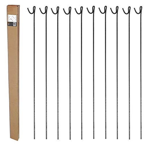 True Products 10 Pack Steel Fencing Pins 1.25m High with Shepherds Crook...