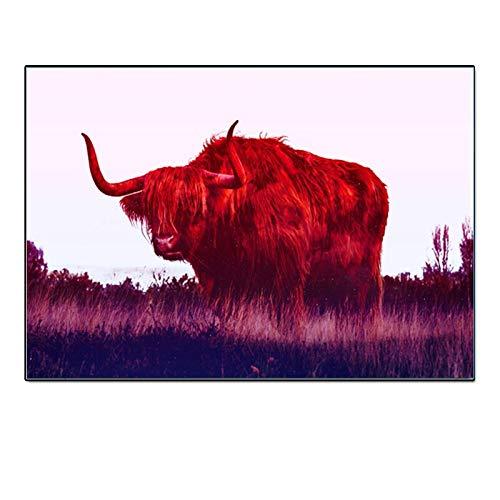 Geiqianjiumai Kunst Hochland Kuh Tier Leinwand Bild Wandbild Wohnzimmer Kunst Moderne Dekoration Rahmenlose Malerei 40x60 cm