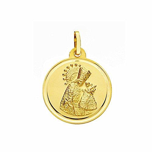 Medalla Oro 18K Virgen Desamparados 18mm. Lisa Bisel [Aa2572]