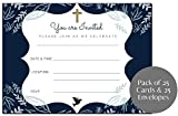 25 Religious Invitations | Boys & Girls Navy Blue & Gold | Fill in Blank Cards Invites | Holy First Communion, Baptism, Confirmation, Christening, Reconciliation | 25 Count with envelopes | 5' x 7'