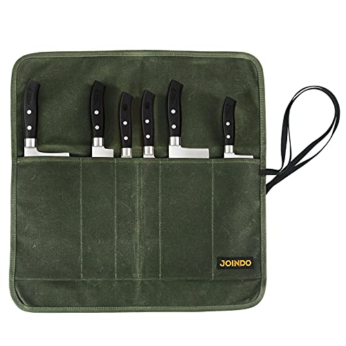 JOINDO Heavy Duty Waxed Canvas Knife Bag, Professional Chef Knife Roll Bags with 6 Slots, Knives...