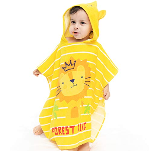 PEIPONG Toalla de baño con capucha para bebé, grande, suave y superabsorbente, lavable a máquina, con bonitas orejas para baño de bebé (león, 120 cm × 60 cm)