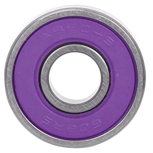 Rodamientos de Bolas Juego de rodamientos de monopatín 8 Piezas Patineta Scooter 608 Rodamientos de Bolas en Miniatura Kit de rodamientos de Bolas de patín(Purple ABEC-7)
