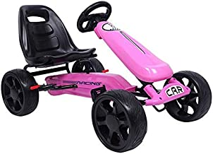 Pedal Go Kart Kids Pedal Car Ride on Car Toys 4 Wheels Pedal Drive Racer Bicycle with Brake (Pink)