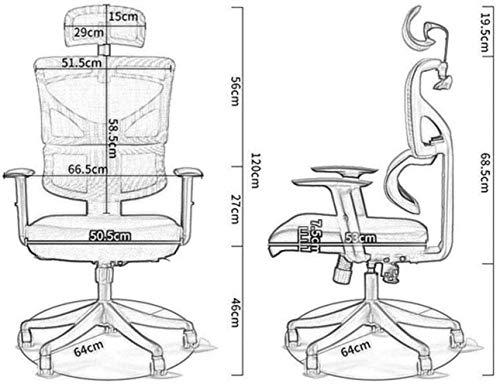 Xiuyun Bürostuhl Gaming Stuhl Schönheit Stuhl Ergonomische High-Back Racing Art Schalensitz Stuhl- Swivel, Computer Swivel Lendenwirbelstütze Chefsessel (Color : Gray, Size : 64 * 120cm)