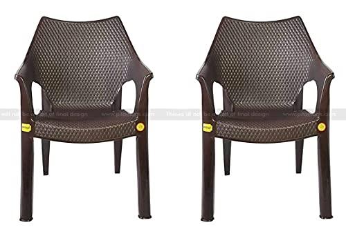 Anmol Plastic Chairs Plastic Vintage Arm Rest Chair (Brown), 2 Pieces