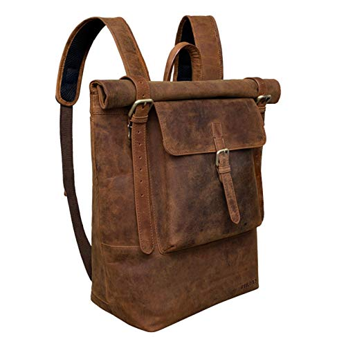 STILORD 'Chris' Leather Backpack Roll Top Men Women for Laptop A4 Size Large Vintage...