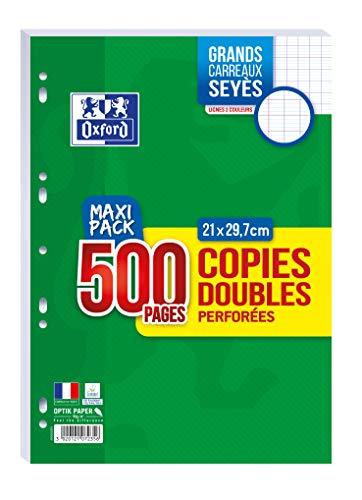 OXFORD Lot de 500 Pages Copies Doubles Perforées A4 (21 x 29,7cm) 90g Grands Carreaux Seyès - Maxi Pack
