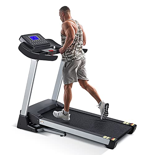 Treadmill with 15% Auto Incline,3HP Folding Electric Treadmill, 10 MPH Max Speed Running Machine with 300 LBS Weight Capacity and 15 Preset LCD Display Treadmills for Home Use