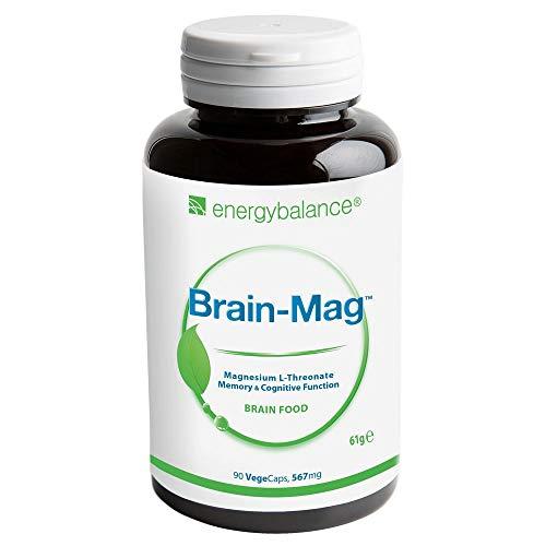 EnergyBalance, Brain-Mag, Magnesium-L-Threonate, 567mg, 90 VegeCaps - Alta biodisponibilidad - Sin Vegetales ni Gluten - Calidad de marca de Suiza