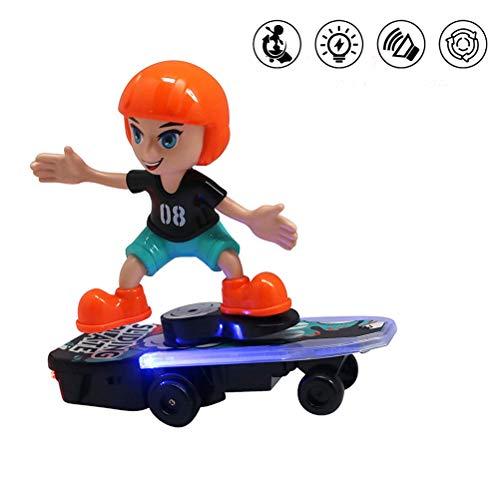 Brain Game Gowsch 360 ° Rotation Skater Spielzeug mit Musik und Licht Mini Cartoon Skateboard Spielzeug