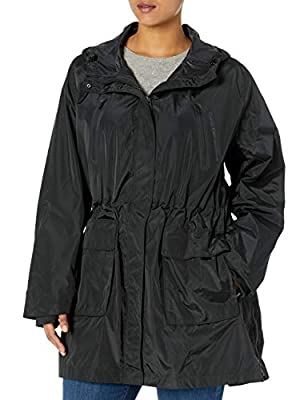 Calvin Klein Women's Plus Size Hooded Jacket W/Bonded Pockets, Black, 3X