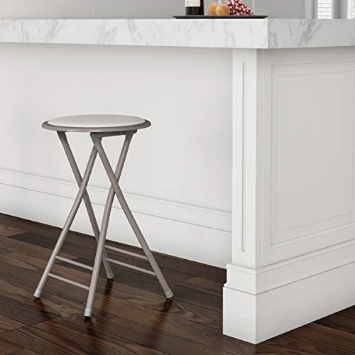 Trademark Home Folding Heavy Duty 24-Inch Collapsible Padded Round Stool, White