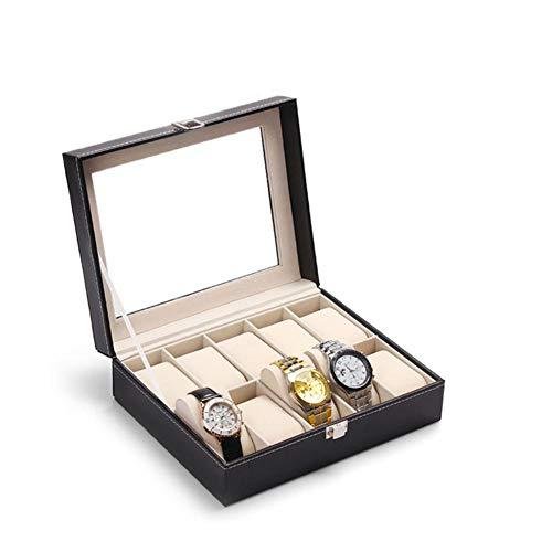 AYNEFY Caja porta reloj con cerradura, caja porta relojes con 10 compartimentos, estuche porta 10 relojes Box Storage de piel, negro, 25 x 20 x 8 cm