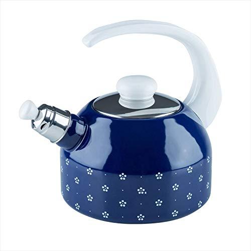 Riess, 0543-073, Flötenkesssel Plus 2,00 L, COUNTRY - DIRNDL, Durchmessser 18 cm, Höhe 21,7 cm, Inhalt 2 Liter, Emaille, blümchenblau, blau/weiß