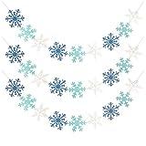 3 Stück Glitter Weihnachten Banner Dekoration Winter Schneeflocken Girlande für Weihnachtsferien Themed Party Dekor Winter Mantel Neujahr Party Home Dekorationen, Weiß & Blau & Hellblau