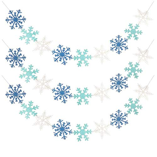 3 Pack Glitter Snowflakes Banners Winter Snowflakes Garland for Christmas Holiday Themed Party Decor Santa Festive Party Decor Winter Mantle New Year Party Home Decorations, White & Blue & Light Blue