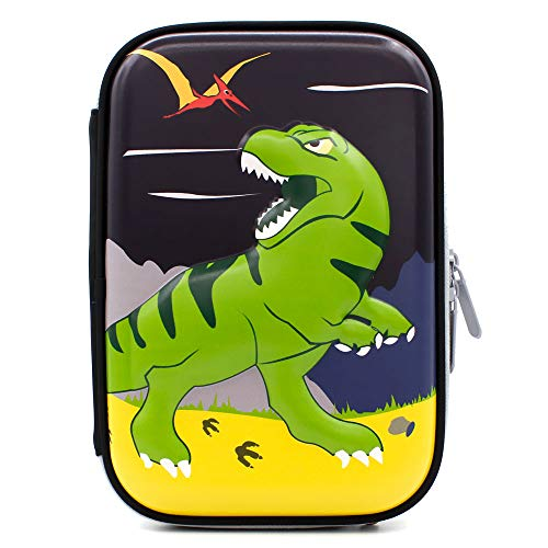 SOOCUTE Green Dinosaur Embossed Large Capacity Hardtop Pencil Case - Students School Supply Organizer Box Pen Pouch Holder for Kids Boys Girls Toddlers