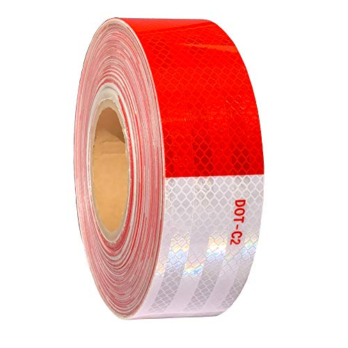 WAENLIR 2 inch x160Feet Reflective Tape DOT-C2 Waterproof Red and White Adhesive Safety Conspicuity reflector tape for trailer, Cars, Trucks, outdoor