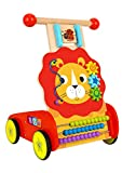 Pidoko Kids Lion Baby Walker Cart with Wheels - Wooden Activity Center Push and Pull Toy - for 1 Year Old and Up