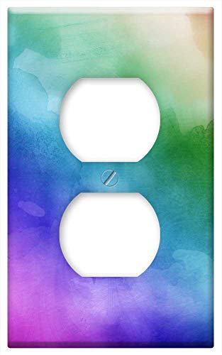Switch Plate Outlet Cover - Watercolors Rainbow Colors Lilac Violet Colors