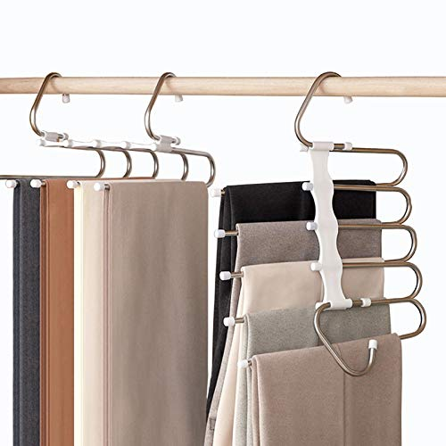 Zokomart Hosen-Kleiderbügel, platzsparend, 5 Lagen, Edelstahl, faltbar, praktisch, 2 Packungen, weiß
