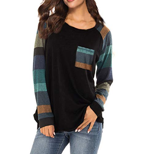Mode Pullover Femme à Rayures O-Cou T-Shirt Casual Blouse Ample à Manches Longues Tops Shirt Blouse LONUPAZZ