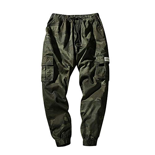 KPILP Hose Herren Dicke Haremshosen Mode Übergröße Tägliche Jeans Tarnung Neun Punkte Kleine Füße Lose Beiläufige Sportwear Chino(A-armeegrün, 6XL