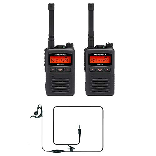 2 Motorola EVX-S24 Digital UHF Display Radio & 2 MH-89A4B C-Ring Headsets Designed for Your Security Team
